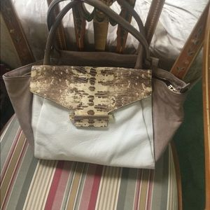 Vince camuto cream/tan leather satchel